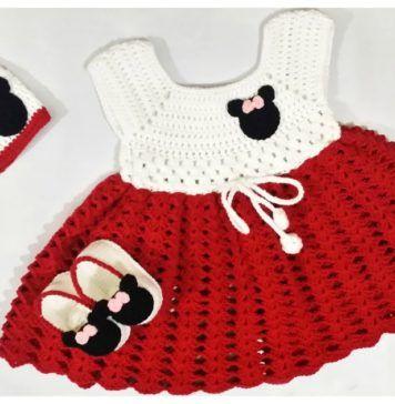 Mickey Minnie Mouse Baby Dress Set Free Crochet Pattern | Bebis ...