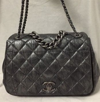d55b70e90157 Pondicherry Large Bubble Flap Lambskin Quilted Satchel Gray Leather ...