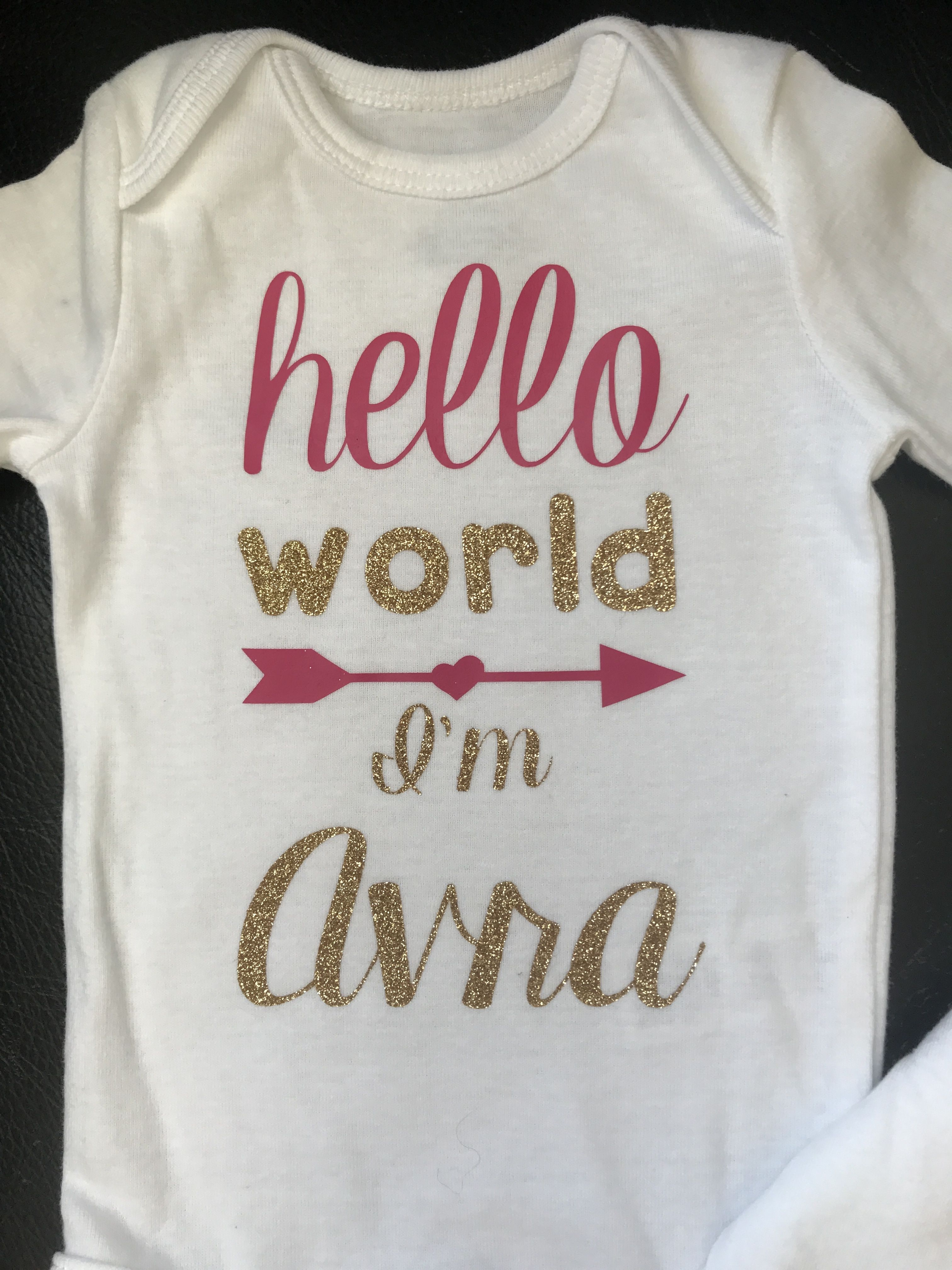7831e382a713 Hello World Onesie   Newborn Photo Outfit Boy   Girl   Personalized ...
