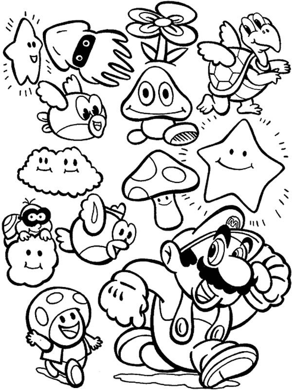 Super Mario Brothers All Characters Coloring Page Super Mario Coloring Pages Mario Coloring Pages Coloring Books