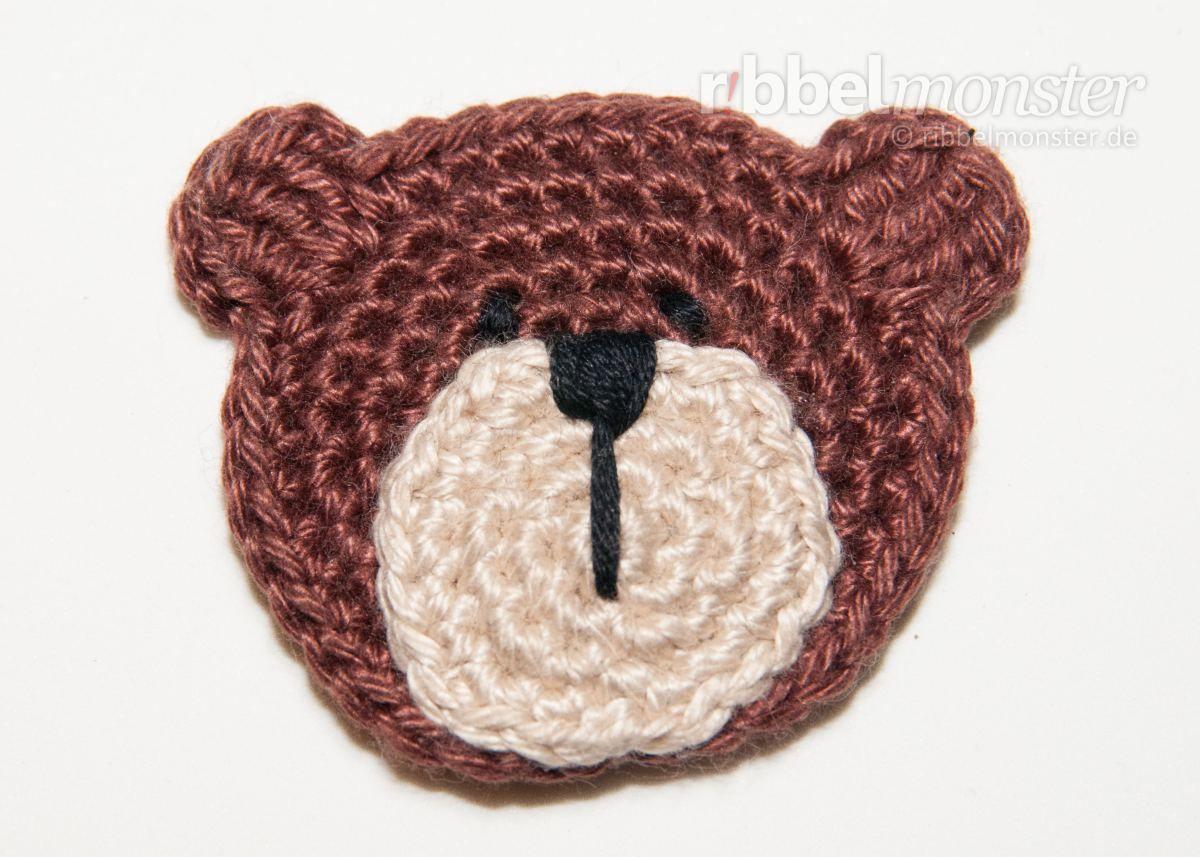 Aufnäher - kleinen Teddybär häkeln \