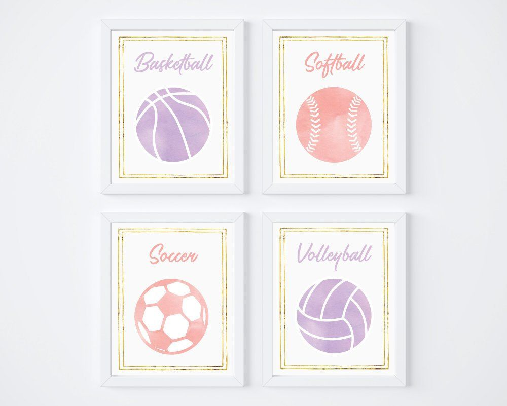 Sports Prints For Girls Room Soccer Art Volleyball Poster Etsy Sports Themed Nursery Decor Sports Nursery Decor Sports Wall Decor
