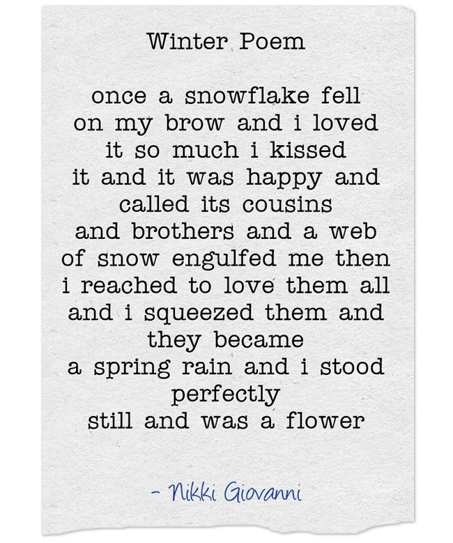 Winter Poem ― Nikki Giovanni   Shadows of time ...