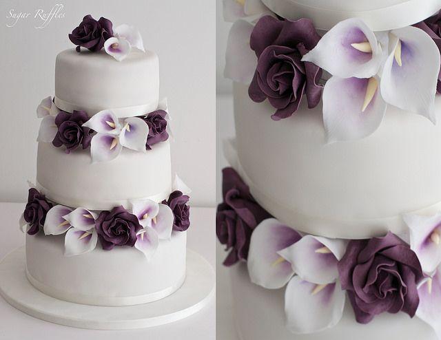Purple Roses And Calla Lily Wedding Cake Calla Lily Wedding Cake Calla Lily Cake Wedding Cake Roses
