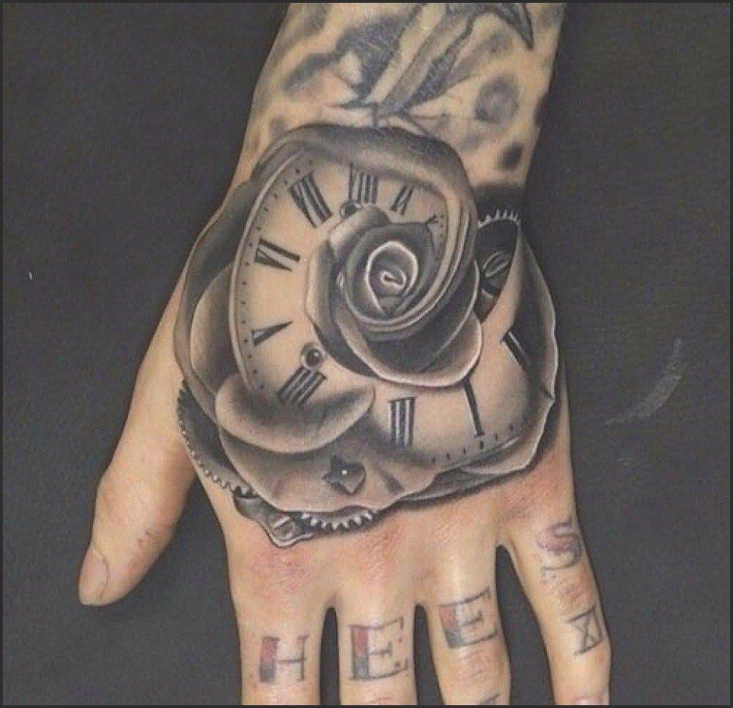 Grey Rose Flower Clock Tattoo On Left Hand Hand Tattoos For Guys Hand Tattoos For Women Rose Hand Tattoo