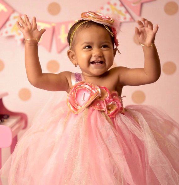 51de7f830303 Gorgeous Beautiful Light Pink, Hot Pink, and Gold Satin Shabby Chic Flower Tutu  Dress