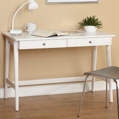 Woodville Wood Desk Mid Century Desk White Writing Desk White