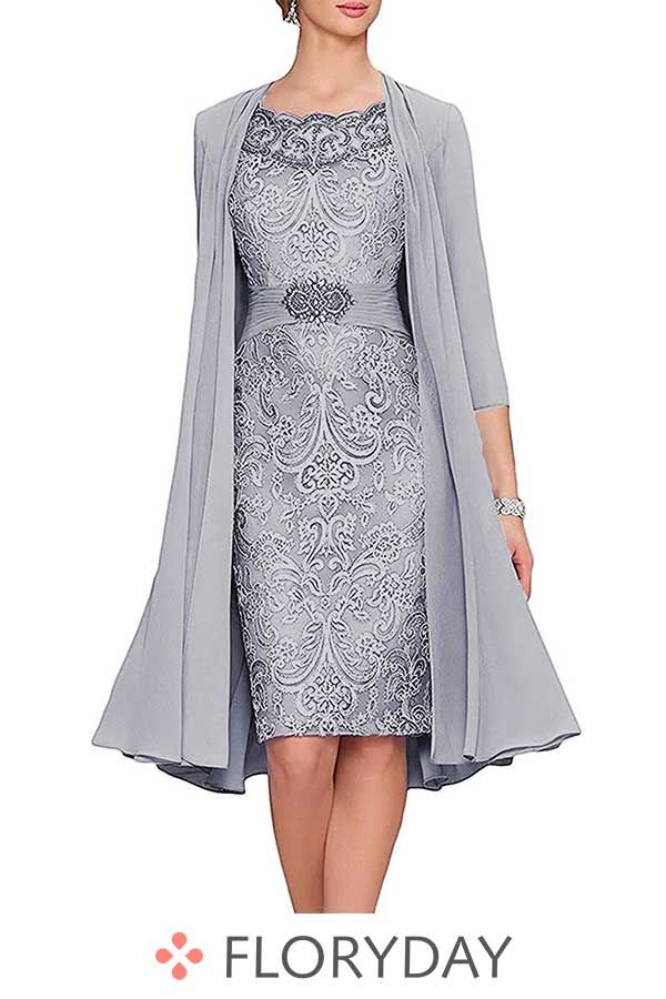 Knielanges Kleid mit Flügelärmel #groomdress