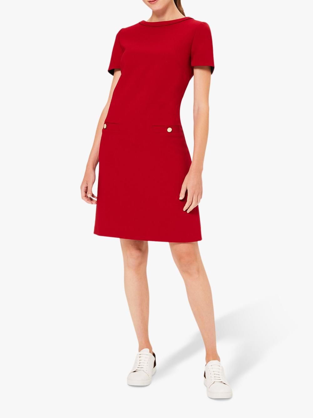 Hobbs Petra Pocket Shift Dress Red Short Sleeve Shift Dress Staple Dress Shift Dress [ 1333 x 1000 Pixel ]