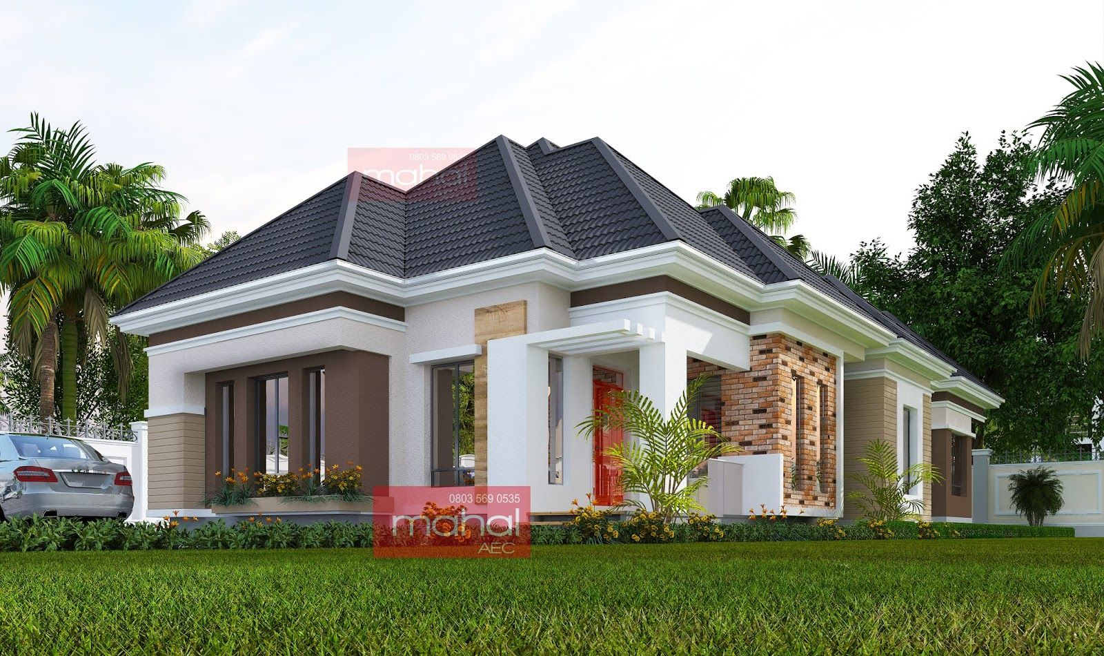 Contemporary Nigerian Residential Architecture Uwadiegwu House Modern 4 Bedroom Bungalow In 2020 Bungalow House Design Residential Architecture House Paint Exterior