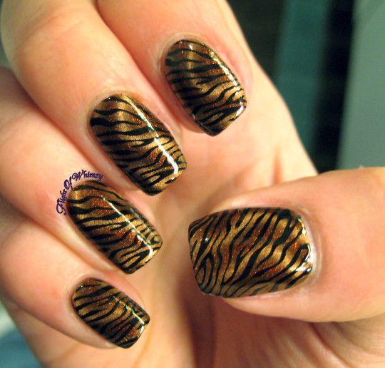 Tawdy Tiger Art Nails Nail Stamping And Makeup