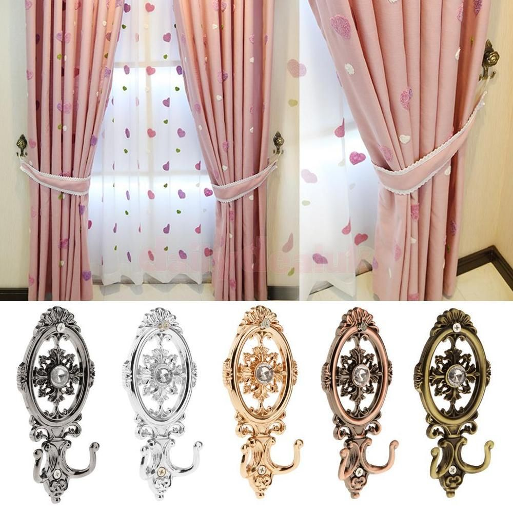 Details About 2 Pcs Antique Oval Curtain Hanger Crystal Wall