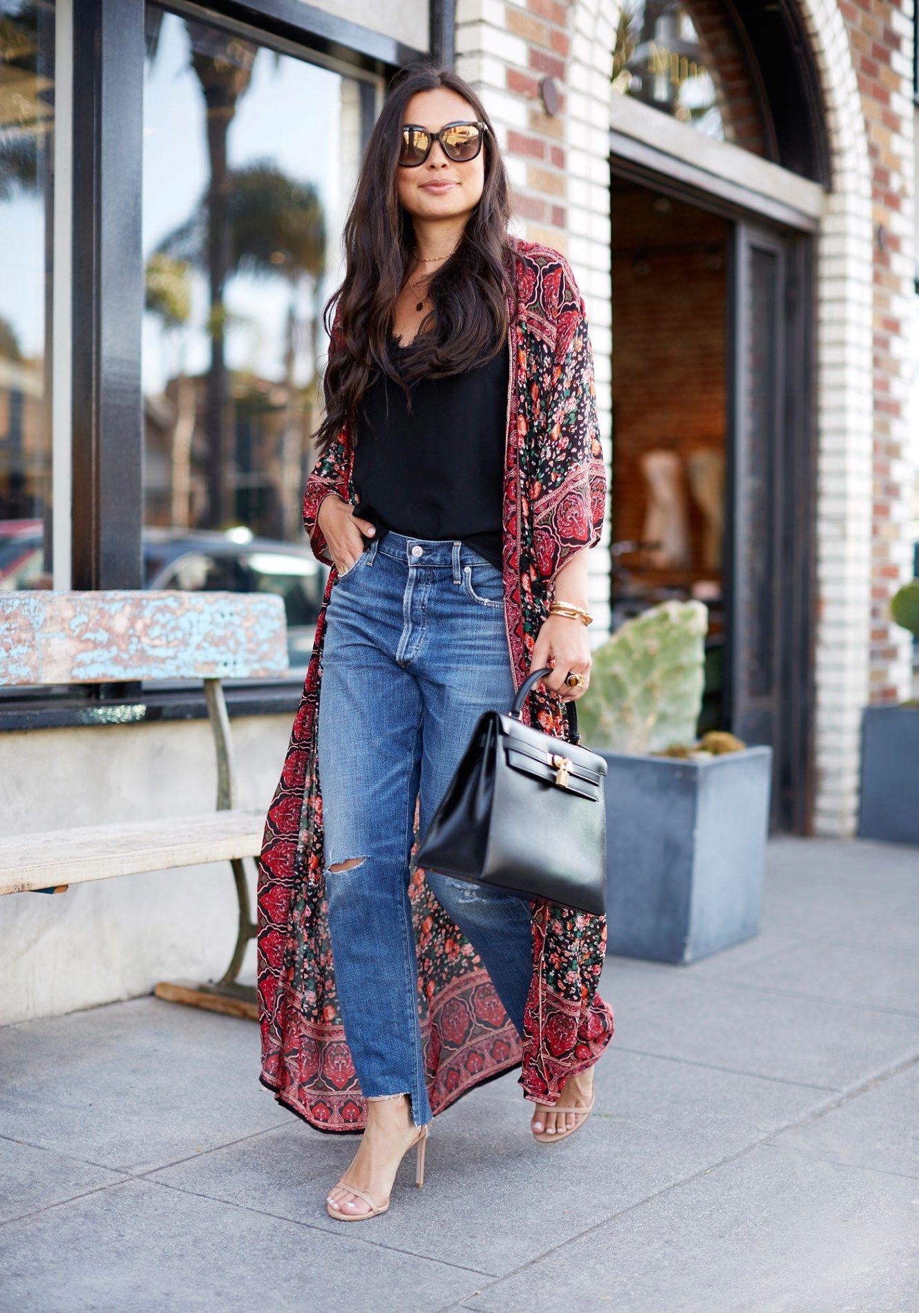 bb9144c638fa Kimono + Boyfriend jeans.