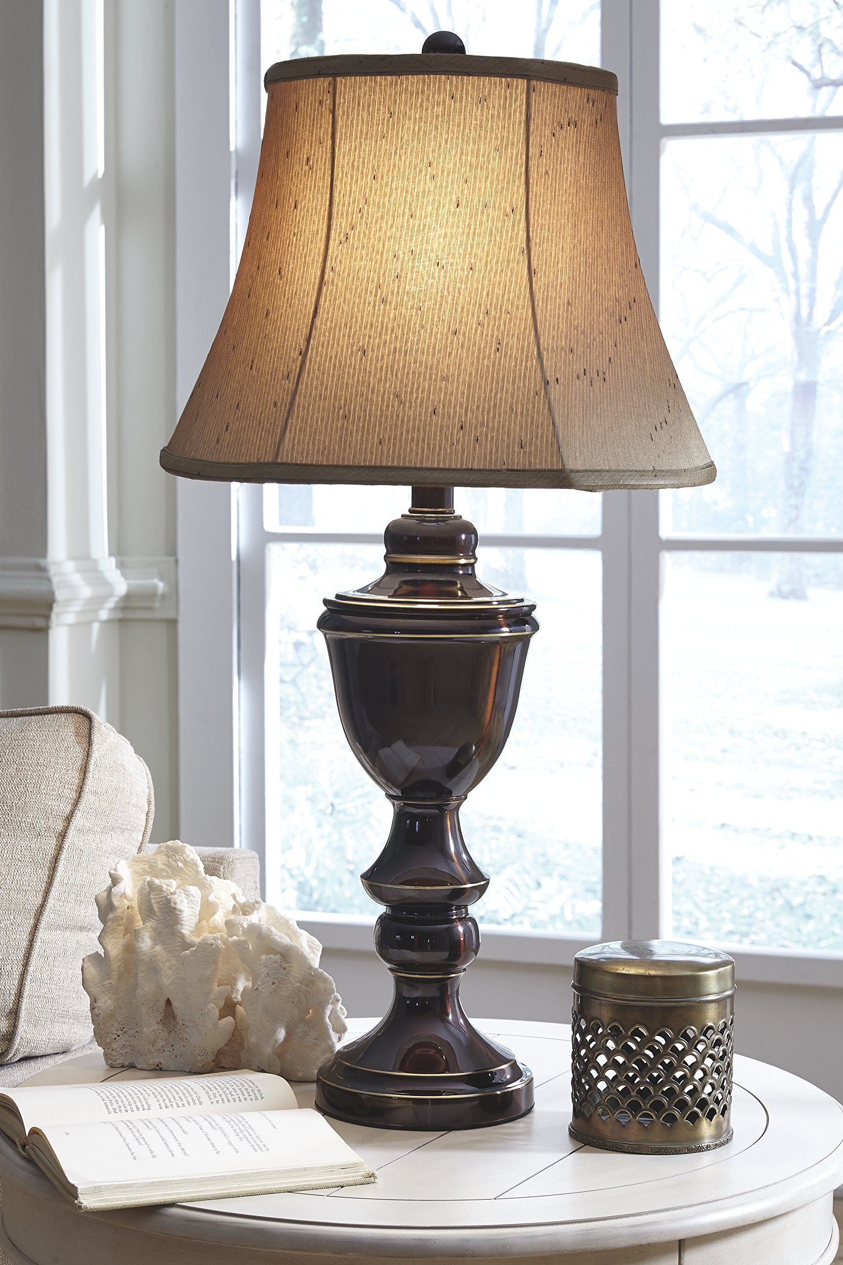 Ashley Furniture Signature Design Glyn Metal Table Lamp Elegant Bell Shades Set Of 2 Rubbed Bronze Finish Find Out Mo Metal Table Lamps Table Lamp Lamp