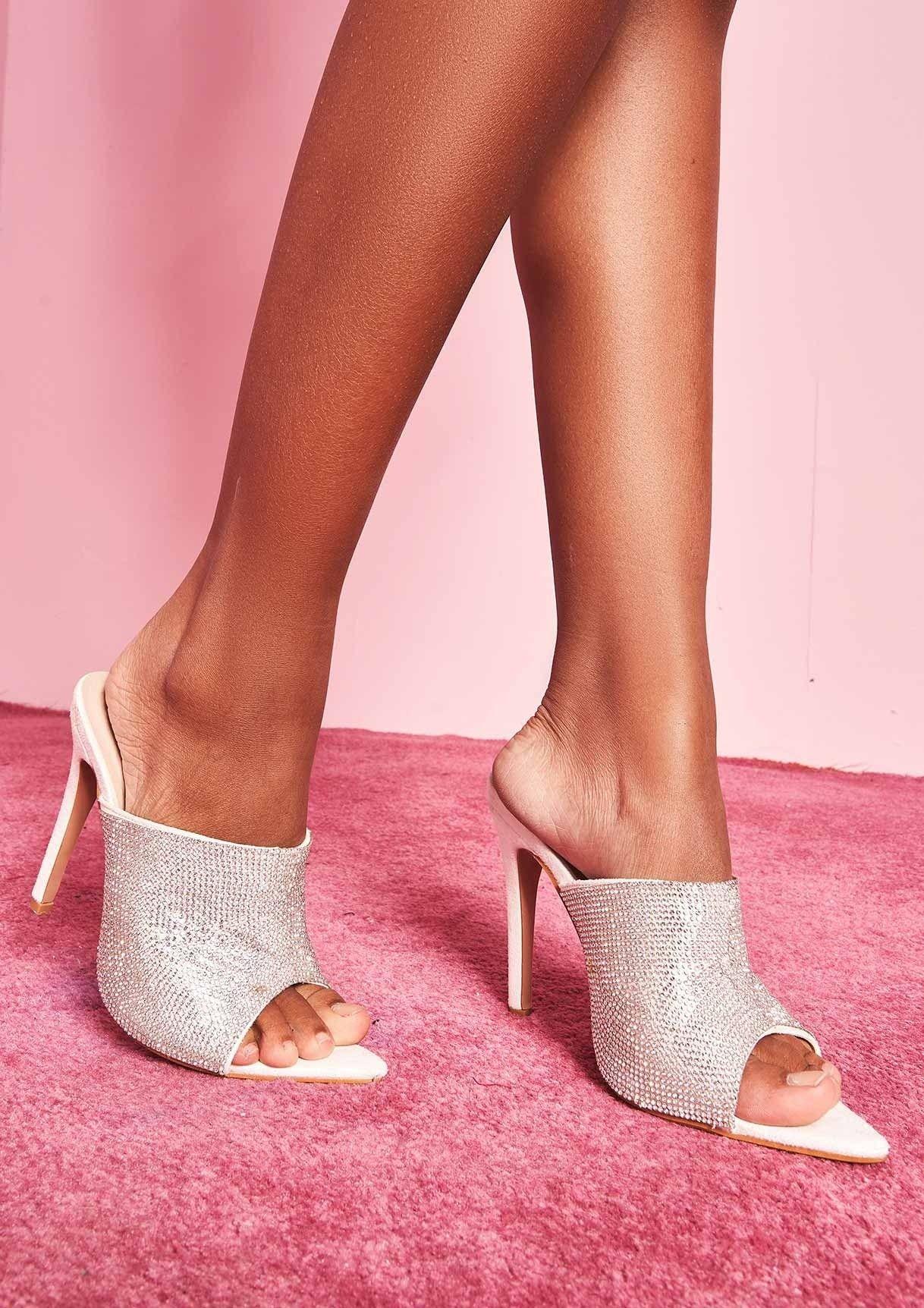 76ede7a11b15 Missyempire - Dolly White Diamante Mule Heels