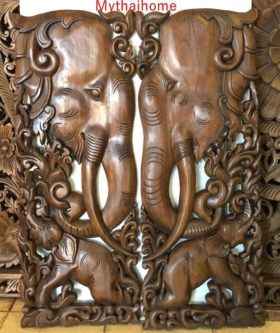 2 X 3ft 35 Brown Gold Pair Teak Wood Carve Carved Elephant