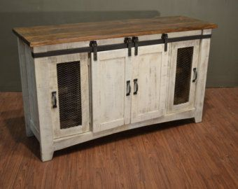 Rustic Solid Reclaimed wood 60 inch TV stand Media Center ...