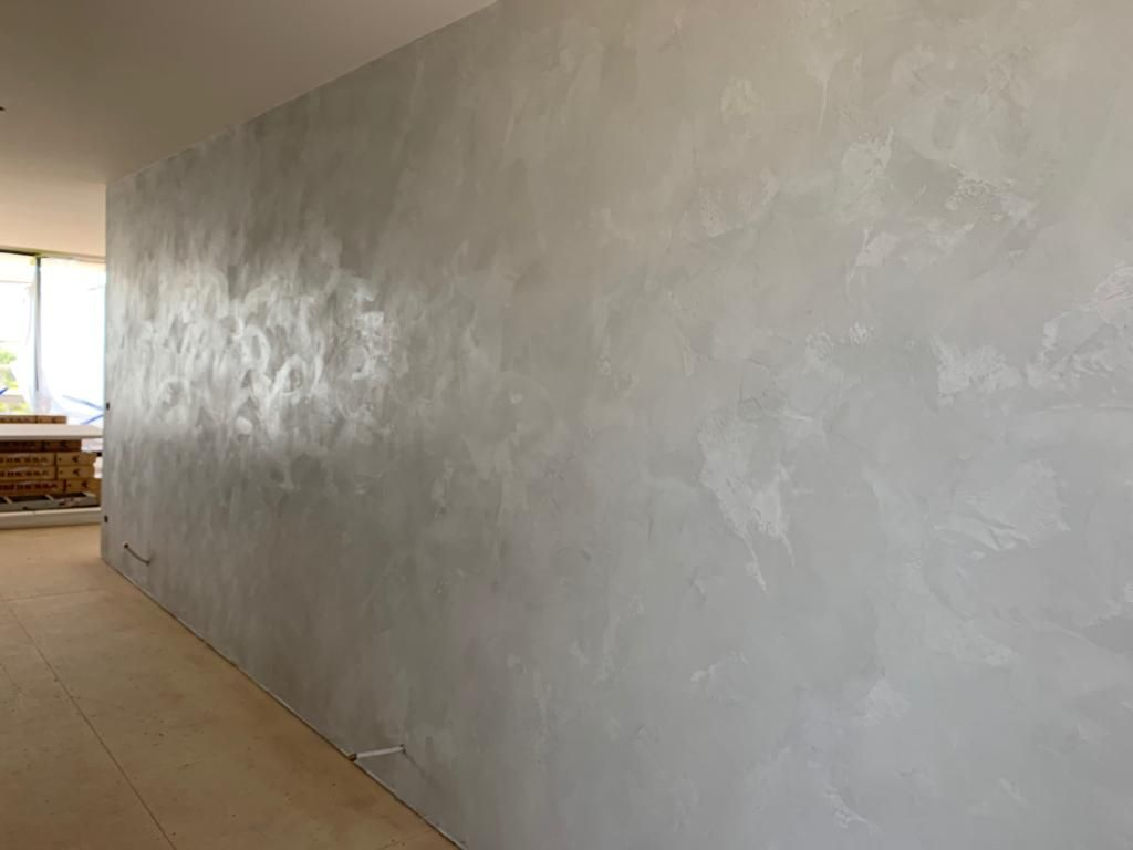 Light Grey Venetian Plaster Smooth Finish With Slight Texture Concrete Looks Fireplace And Feature Wa Venetian Plaster Walls Venetian Plaster Plaster Walls