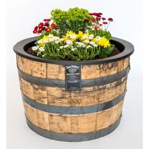 Null 25 In Dia Oak Wood Whiskey Barrel Planter Potted Plants