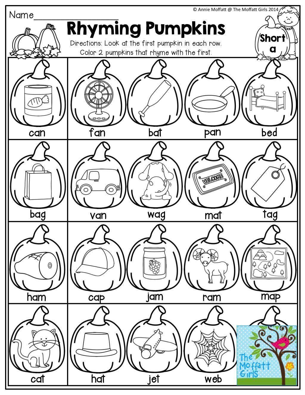 Halloween Rhyming Worksheets For Kindergarten Rhyming