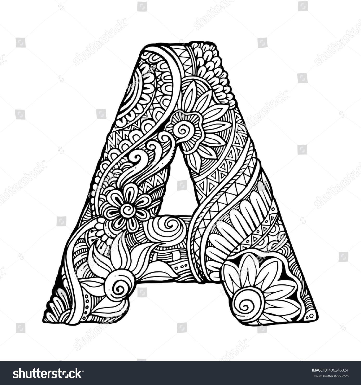 Zentangle Stylized Alphabet Letter A Vector