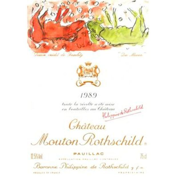 The 1989 Chateau Mouton-Rothschild label by Georg Baselitz