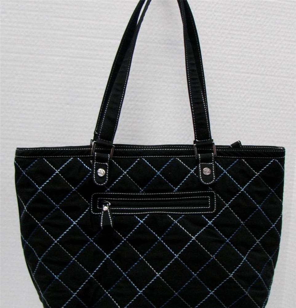 VERA BRADLEY BLACK QUILTED MICROFIBER BLUE STITCHING HANDBAG ZIP CLOSURE b89306abb4714