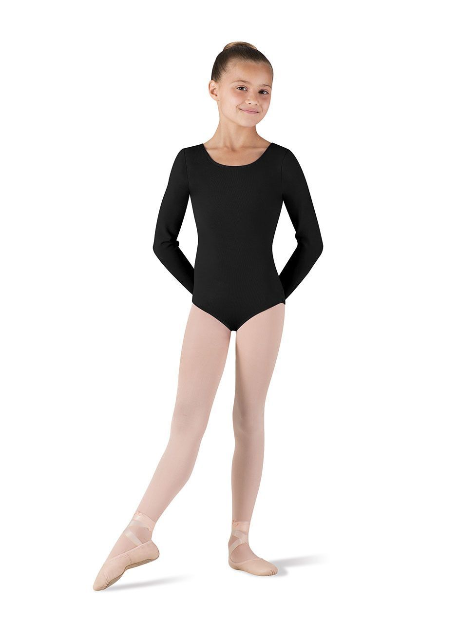 be5c497b67a8 Child Basic Long Sleeve Leotard (White) CL5409