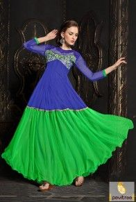 Blue Green Net Trendy Gown  http://www.pavitraa.in/store/gown/?utm_source=pk&utm_medium=pinterestpost&utm_campaign=22May  #pavitraa, #gown, #dress, #promdress, #partywearsuits, #westerndress, #onlinedress, #longdress,#pavitraafashion,#hollywoodstylishsuits
