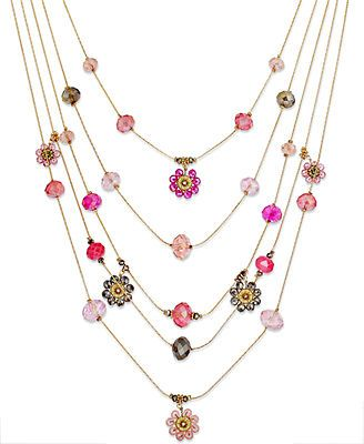 c.A.K.e by Ali Khan Gold-Tone Flower Bead Five-Row Illusion Necklace