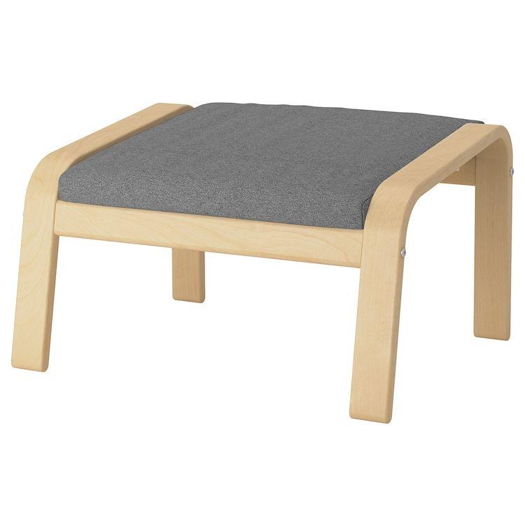 Poang Footstool Birch Veneer Lysed Grey Ikea Footstool