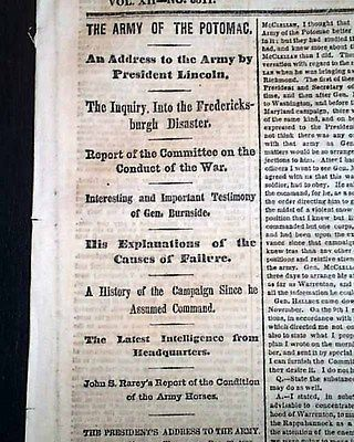 ABRAHAM LINCOLN ADDRESS on Battle of Fredericksburg Loss1862 Civil War Newspaper