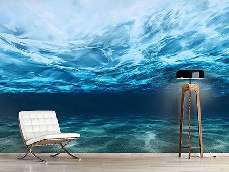 Raumansicht Wohnzimmer Fototapete Lichtspiegelungen unter Wasser - schlafzimmer günstig online