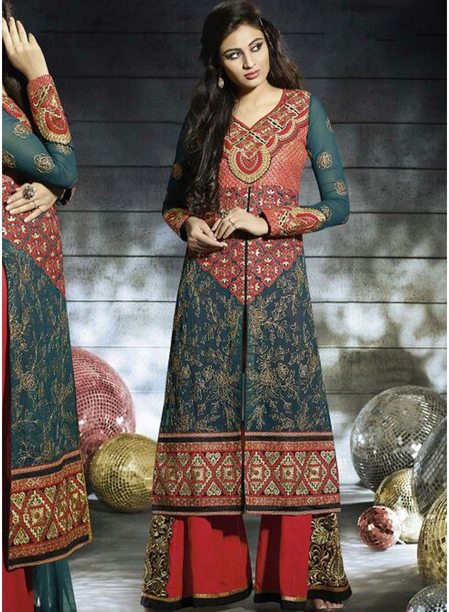 Green Cotton Straight Semi Stitched Salwar Kameez - Online Shopping India  ...
