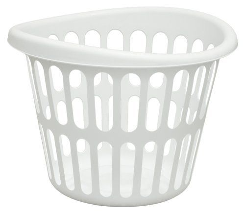 United Solutions Round Plastic Designer Laundry Basket 1 Bushel Capacity White By United Solutions 251 44 Perfo Laundry Basket White Laundry Basket Basket