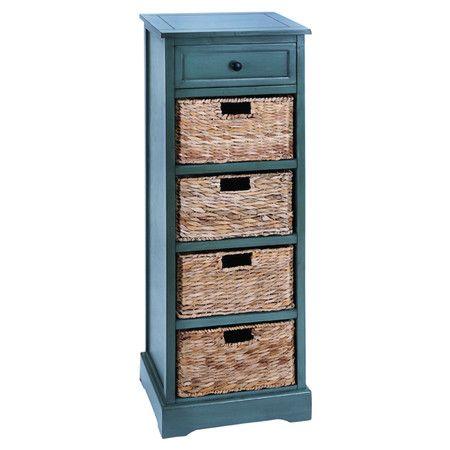 Found It At Wayfair Tall Storage Cabinet In Blue Wicker Wicker Baskets Wood Chest