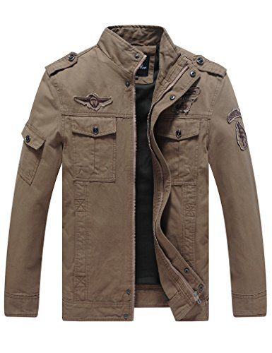 ba9ae3cf9bf9 WenVen Men s Fashion Cotton Jackets (Khaki