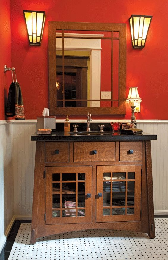 Arts and Crafts Bathroom - The custom glass sconces in ...   For the ... #craftsmanstylehomes