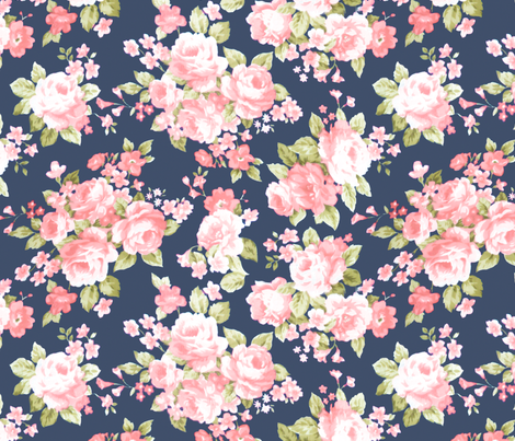 Colorful Fabrics Digitally Printed By Spoonflower Navy Blush Watercolor Floral Floral Watercolor Blush Watercolor Watercolor Flowers