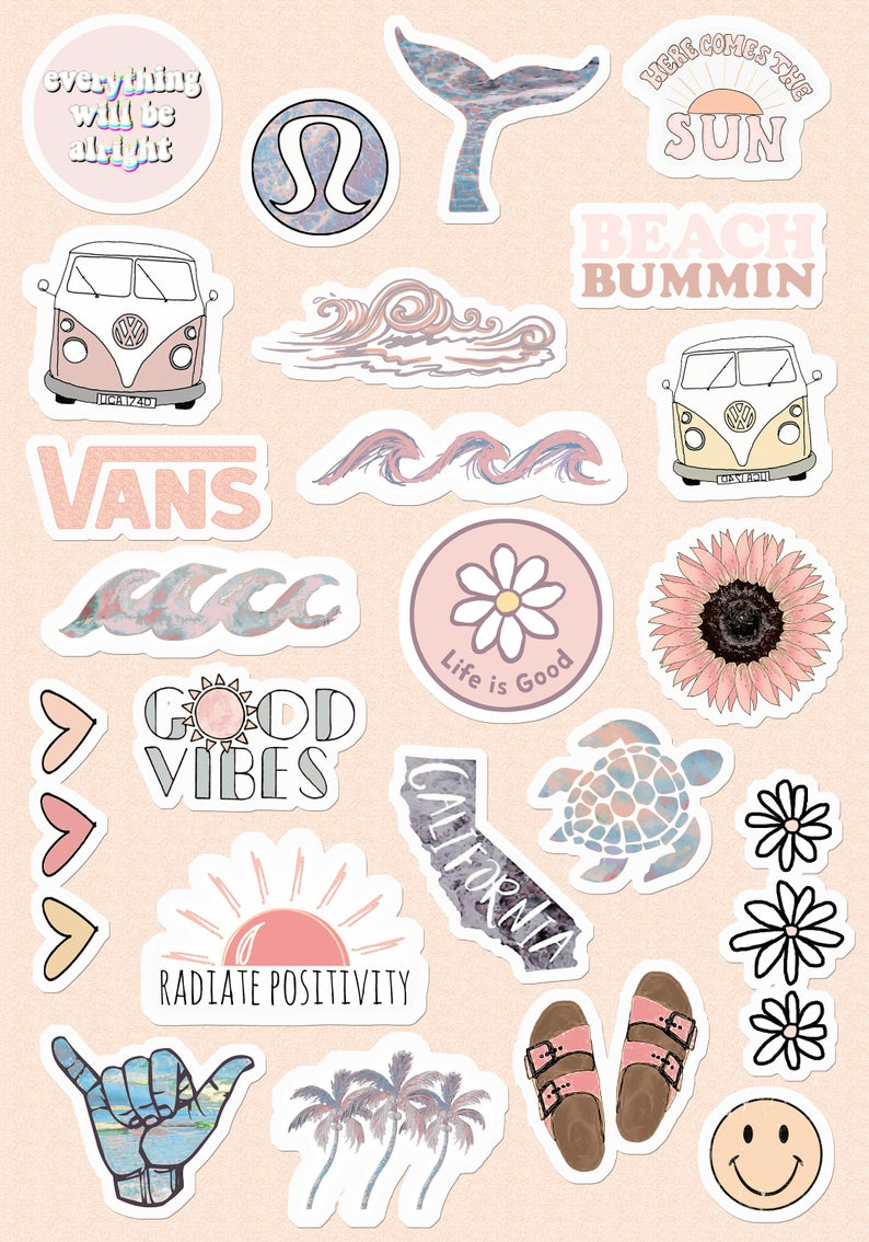Small & Large Stickers Vsco Light Blue-Yellow Pink