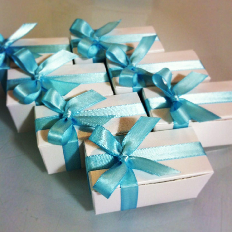 Turquoise White Wedding Favors