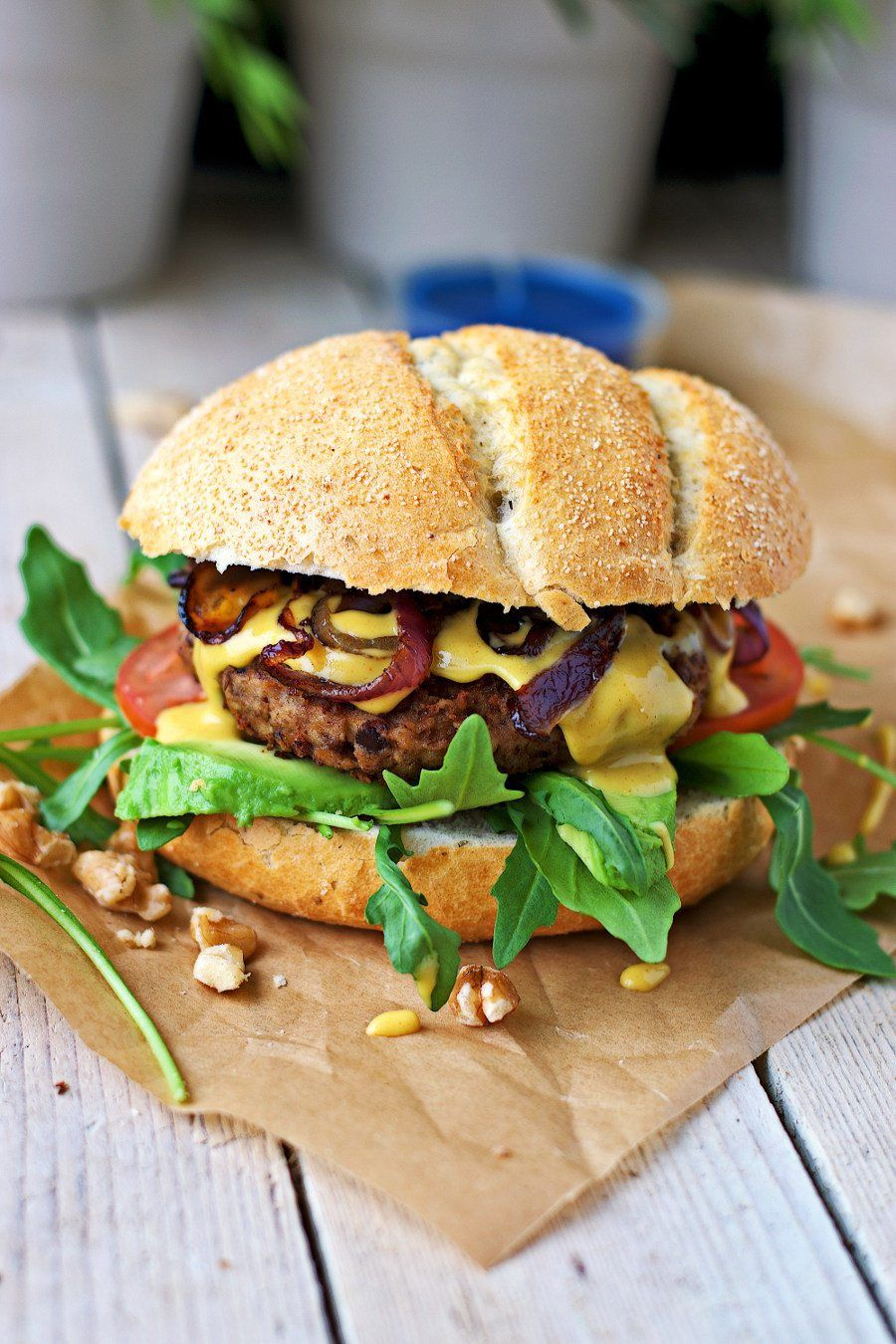 Vegan Lentil Burger It takes only four ingredients to make the most delicious and out of this world Vegan Lentil Burger. It's perfect with the sweet and spicy flavors of the creamy Mustard Sauce with Maple for an easy and satisfying dinner or lunch.