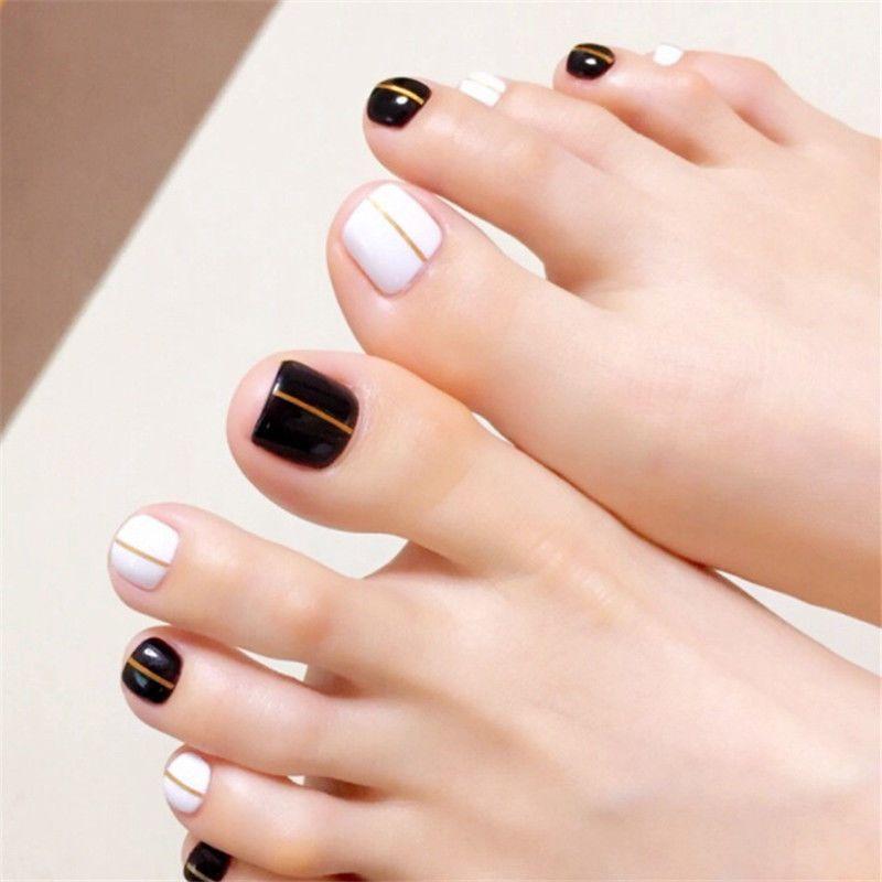 24Pcs Black White False Toe Nails French Toe Nail Tips Acrylic Fake ...