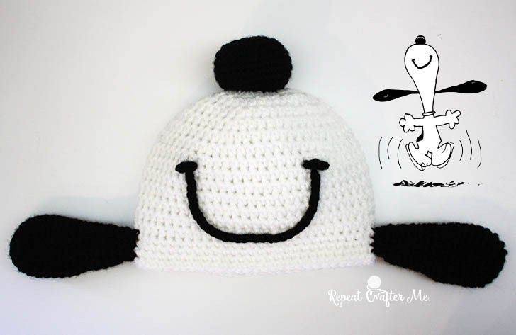 Crochet Snoopy Happy Dance Hat (Repeat Crafter Me)   Gorros, Tejido ...