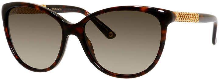de513a54795 Gucci Sunsights Metal-Trim Diamantissima Cat-Eye Sunglasses