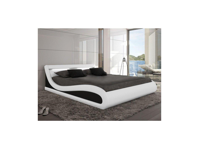 Estructura de cama ZALARIS - 160x200 cm - Piel sintética blanco con ...