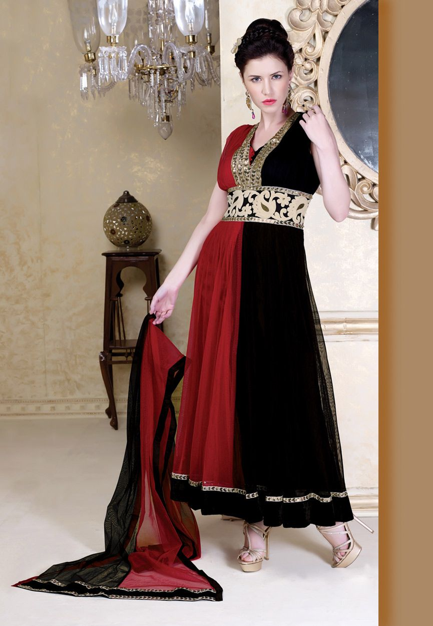 8ca1bc8ad5 Red and Black Net Readymade Churidar Kameez Online Shopping: KWM4167 ...