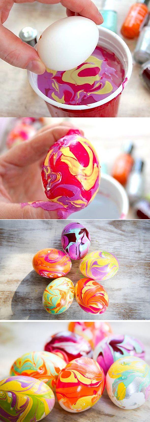 DIY Nail Polish Dipping Easter Eggs | Huevos pintados, Huevo y Esmalte