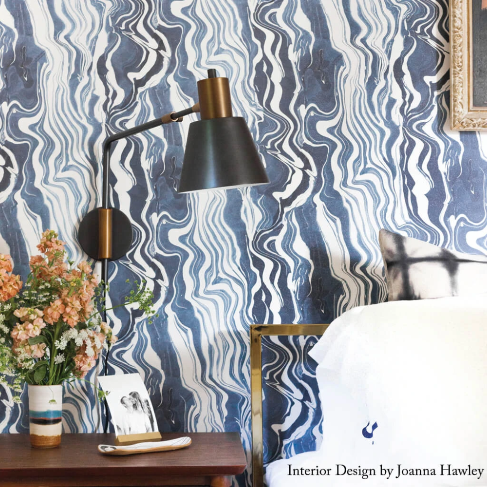 Marbled Stripe Wallpaper In Navy Blue And White Wallpaper Striped Wallpaper Blue Interior Design
