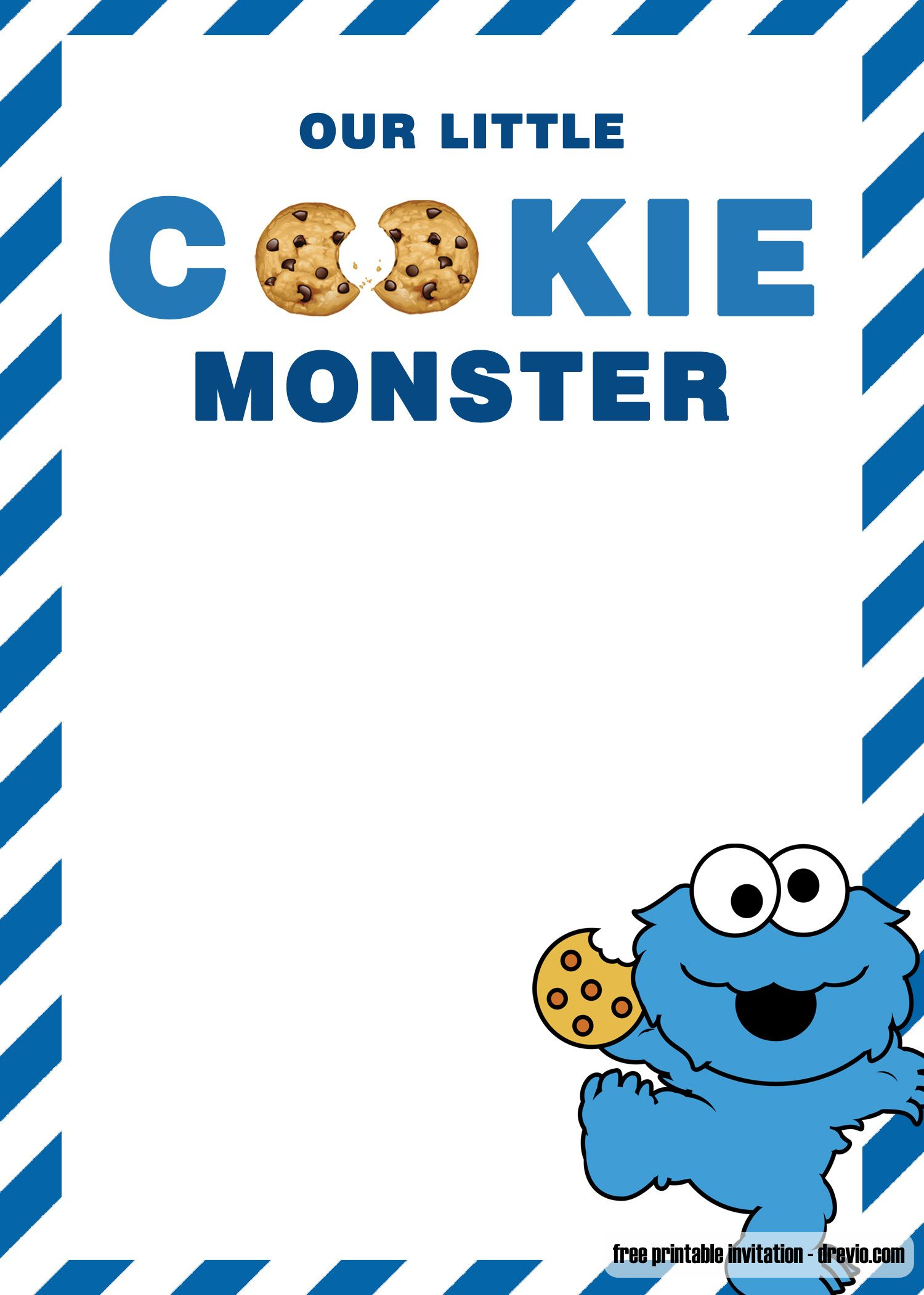 free cookie monster birthday invitation